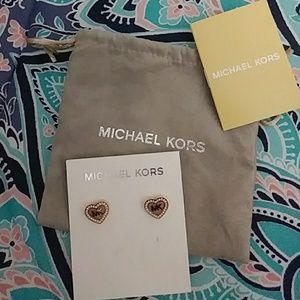 Michael Kors Accessories - Michael Kors Rose Gold & Diamond Heart Earrings